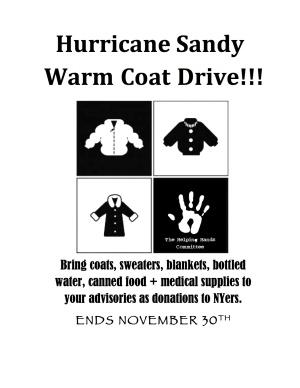 BSGE Hurricane Sandy Coat Drive On Until 11/30 « The