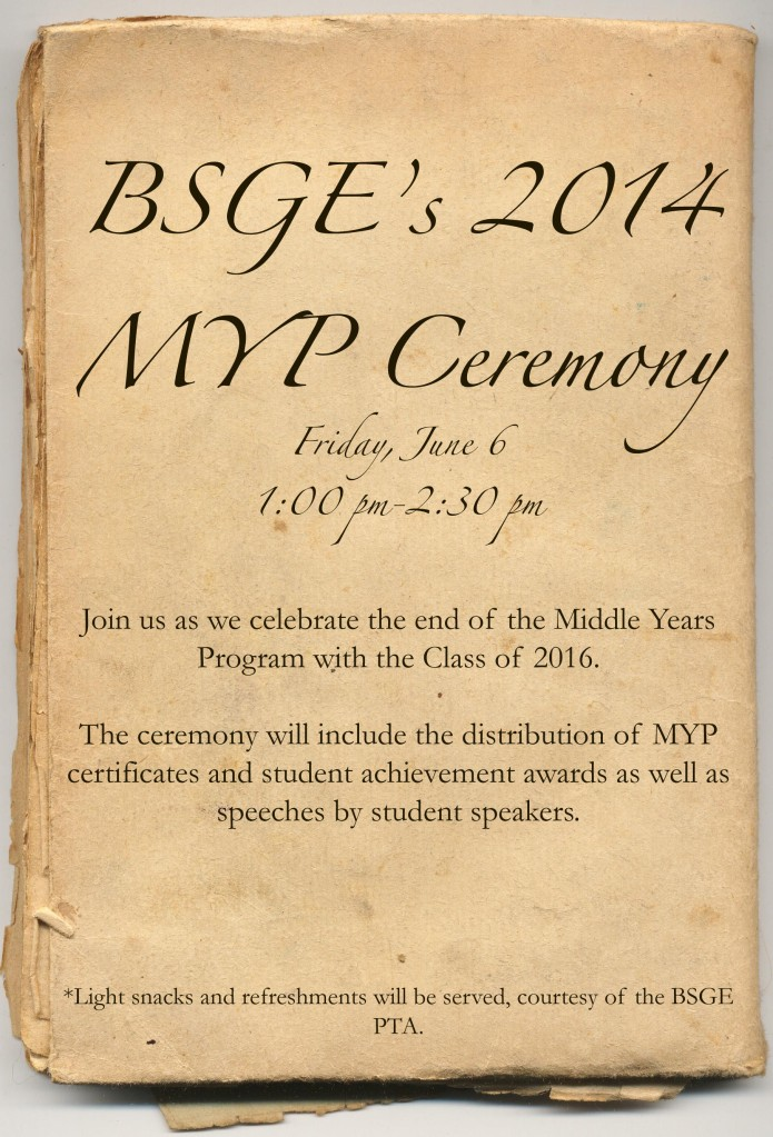 BSGE MYP Ceremony invite